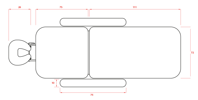 Dimensions de la table de soins Weelko LONG