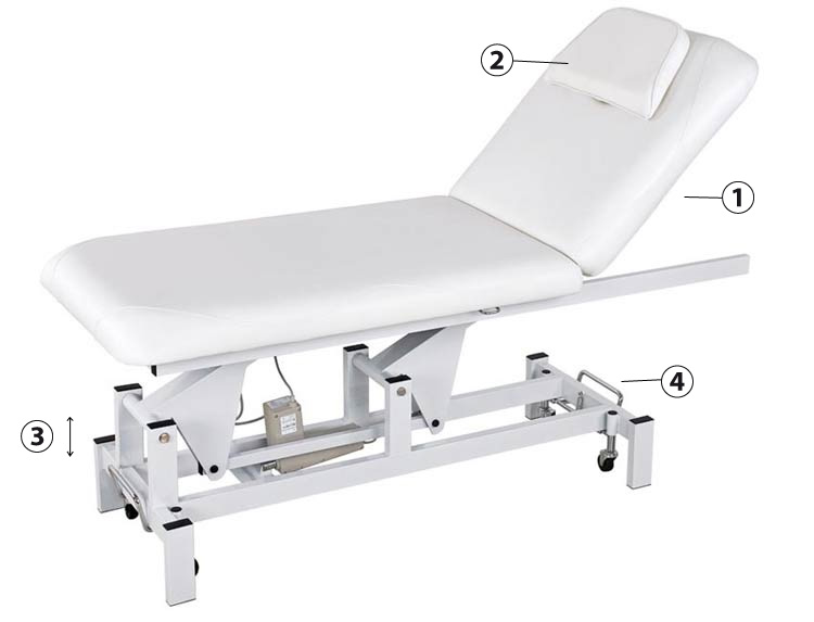 Détails table de massage Weelko Lumb